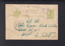 Romania Stationery Blue Belcesti Gara To Galati Faults - 1881-1918: Charles I