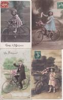 Thème Enfants Cyclisme Lot De 4 Cpa  Vélo Bicyclette - Escenas & Paisajes
