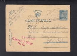 Romania Stationery 1941 Avrig To Causeni Tighina Bessarabia Transnistria Censor Sibiu - World War 2 Letters