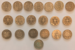 Lot De 20 Pièces 5 Francs Et 5 Lires Argent Du XIX Ième - France