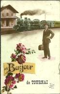 BELGIQUE Hainaut TOURNAI Un Bonjour Train Arrive En Gare 2 Scans - Tournai
