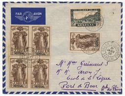 SENEGAL - Belle Enveloppe Affr. Composé Dont 50c Exposition Internationale De Paris 1937 X5 - Dakar Sucoursale 1938 - Senegal (1887-1944)
