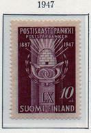 PIA - FINLANDIA - 1947  : 60° Anniversario Della Cassa Di Risparmio Postale -   (Yv   321) - Unused Stamps