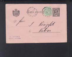 Romania Stationery Uprated 1881 Dorohoi To Poland Kobior - 1881-1918: Carol I.