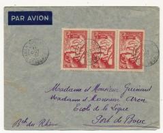SENEGAL - Belle Enveloppe Affr. Composé 3 X 90c Exposition Internationale De Paris - Dakar Sucoursale 1937 - Senegal (1887-1944)