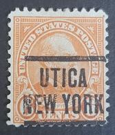 1922 James A. Garfield, Utica, New York, Preoblitere, Precancel, Vorausentwertung,United States Of America, USA - Etats-Unis
