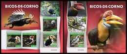 MOZAMBIQUE 2019 - Hornbills. M/S + S/S. Official Issue - Vogels