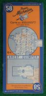 Carte Michelin N° 58 - Brest - Quimper - Années 1940 - Roadmaps