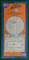Carte Michelin N° 60 - Le Mans - Paris - Années 1940 - Roadmaps