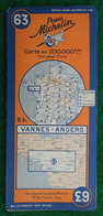 Carte Michelin N° 63 - Vannes - Angers - Années 1940 - Roadmaps