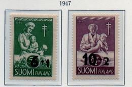 PIA - FINLANDIA  - 1947 :  Pro Tubercolotici - Francobolli Precedenti Sovrastampati  - (Yv 324-25) - Malattie