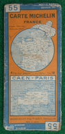 Carte Michelin N° 55 - Caen - Paris - Années 1940 - Cartes Routières