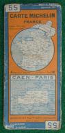 Carte Michelin N° 55 - Caen - Paris - Années 1940 - Roadmaps