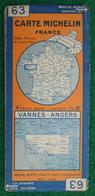 Carte Michelin N° 63 - Vannes - Angers - Années 1930 - Cartes Routières
