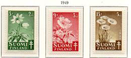 PIA - FINLANDIA  - 1949 : Pro Tubercolotici - Fiori  - (Yv 349-51) - Malattie