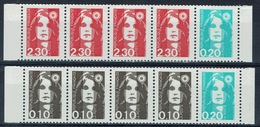 France, Marianne By Briat, 2614-2618 And 2618-2617, Se-tenant, 1990, MNH VF 2 Strips Of 5 - 1989-96 Bicentenial Marianne