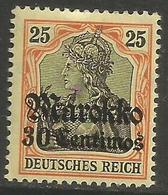 German Offices Morocco - 1911 Germania Overprint  & Surcharge 30c/25pf MH *  Sc  49 - Offices: Morocco