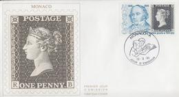 Enveloppe  FDC  1er Jour   MONACO   Sir  Rowland  HILL   1990 - Rowland Hill