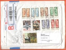 MONACO - 2011 - 9 Stamps + Registered AR - Viaggiata Da Monte Carlo Per Celle Ligure, Italia - Storia Postale