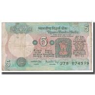 Billet, Inde, 5 Rupees, KM:80i, B - Inde