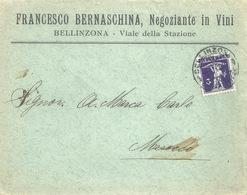 "Motiv Brief  ""Bernaschina, Negoziante In Vini, Bellinzona""            1917 - Lettres & Documents"