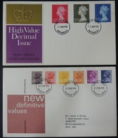 GB 1970/76 QEII FDC 2 Official Illustrated Covers High And Low Value Definitives First Day Cover - FDC
