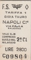 Biglietto Ferroviario - Gioia Tauro - Napoli - Railway