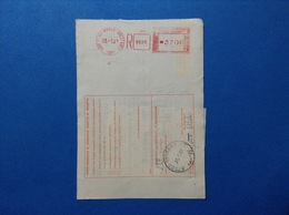 1991 AFFRANCATURA MECCANICA ROSSA EMA RED SU BOLLETTINO BARI 1 VIA NICOLÒ DELL'ARCA - Machine Stamps (ATM)
