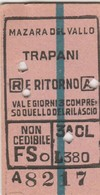 Biglietto Ferroviario - Mazara Del Vallo - Trapani - Railway