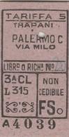 Biglietto Ferroviario -  Trapani - Palermo - Railway