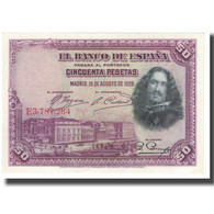 Billet, Espagne, 50 Pesetas, 1928, 1928-08-15, KM:75a, TTB - 50 Pesetas