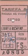 Biglietto Ferroviario -  Ragusa - Comiso - Railway