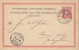 Germany Deutsches Reich UPU Postal Stationery Ganzsache Entier Kleiner Adler Rahmentype A, ELBERFELD 1879 BERN Schweiz - Germany
