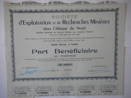Ste D'Exploitation Et De Recherches Minieres Dans L'AFRIQUE Du NORD TUNIS 1949 - Azioni & Titoli
