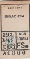Biglietto Ferroviario -  Lentini - Siracusa - Railway