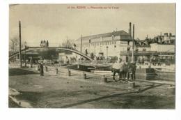 Reims - Passerelle Sur Le Canal (animation, Attelage De Mulets Employés Pour Le Hallage, Auberge Des Trois Poissons) - Reims