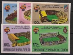Congo - 1980 - PA N°Yv. 280 à 284 - Football World Cup Espana - Non Dentelé / Imperf. - Neuf Luxe ** / MNH / Postfrisch - 1982 – Espagne