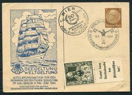 1941 Deutsche Seepost Ship Stationery Postcard. Wien Jubilaums Ausstellung, Berlin Kopenik Seegeltung Weltgeltung. - Briefe U. Dokumente