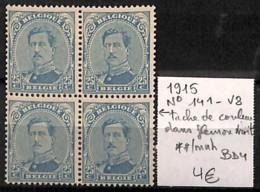 [822130]TB//**/Mnh-Belgique 1915 - N° 141V8, Tache De Couleurs Dans Fleuron Froit, BD4, Rois - 1915-1920 Albert I