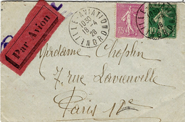 1828- Enveloppe étiquette  Par Avion - Affr. à 85 C ( 75 + 10 ) Oblit. LILLE-AVIATION / NORD - 1921-1960: Modern Period