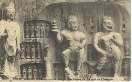 CHINE - CHINA -  HONAN - LUNGMEN Le Boddhisattva Et Les Deux Rois Celestes - Cachet De La Poste 1921 - China