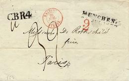 1840- Lettre De MÜNCHEN ( Munich ) + C.B.R4 Noir + Taxe 32 + 9 = 41 D. Entrée : BAVIERE / STRASB. Rouge - Poststempel (Briefe)