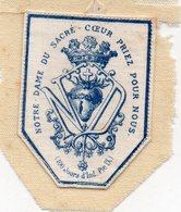 Notre Dame Du Sacré Coeur Priez Pour Nous (100 Jours D'Ind.Pie IX )écusson Cousu Sur Tissu Blanc 6cmX5cm N°1 - Obj. 'Souvenir De'