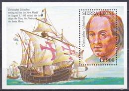 Senegal 1993 Geschichte History Entdeckungen Discovery Kolumbus Columbus Schiffe Ships Seefahrt, Bl. 213 ** - Sierra Leone (1961-...)