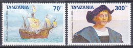 Tansania Tanzania 1992 Geschichte History Entdeckungen Discovery Kolumbus Columbus Schiffe Ships Seefahrt, Mi. 1426-7 ** - Tanzanie (1964-...)