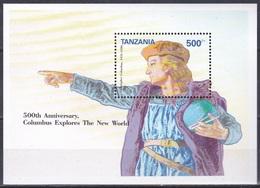 Tansania Tanzania 1992 Geschichte History Entdeckungen Discovery Kolumbus Columbus Cristobal Seefahrt, Bl. 205 ** - Tansania (1964-...)