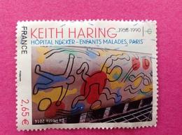 2014, KEITH HARING OBLITÉRATION VAGUES. - France