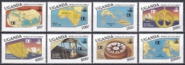 Uganda 1992 Geschichte History Entdeckungen Discovery Kolumbus Columbus WORLD COLUMBIAN STAMP EXPO, Mi. 1095-2 ** - Uganda (1962-...)