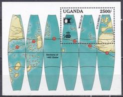 Uganda 1992 Geschichte History Entdeckungen Discovery Kolumbus Columbus Globus WORLD COLUMBIAN STAMP EXPO, Bl. 165 ** - Uganda (1962-...)