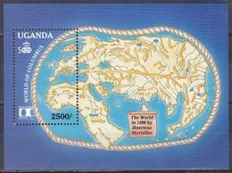 Uganda 1992 Geschichte History Entdeckungen Discovery Kolumbus Columbus Martellus WORLD COLUMBIAN STAMP EXPO, Bl. 166 ** - Uganda (1962-...)